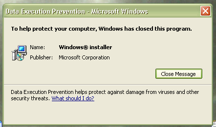 Windows prevents itself from running.